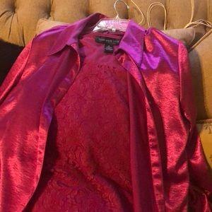 Susan Graver sleeveless top & shirt Jacket set. 1X